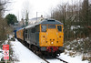 BR blue 31106 at Pontarddulais with test train 2Z08, 0416 Shrewsbury to Shrewsbury via Gwaun Cae Gurwen and Llandeilo Junction on 6th January 2010. Track Recording Coach 999508 is behind the loco with 31602 'Driver Dave Green' bringing up the rear.