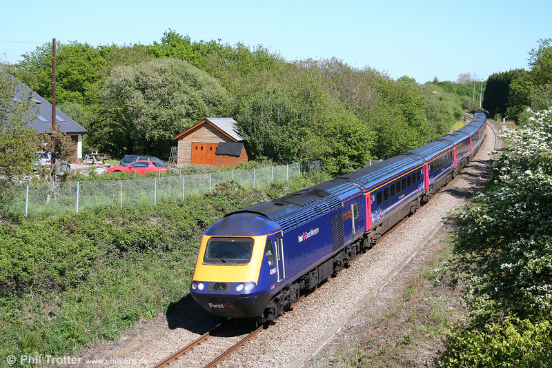 On the single track section west of Swansea, FGW's 43163 'Exeter Power Signalbox' leads the 0930 London Paddington to Carmarthen through Waunarlwydd on 23rd May 2010.