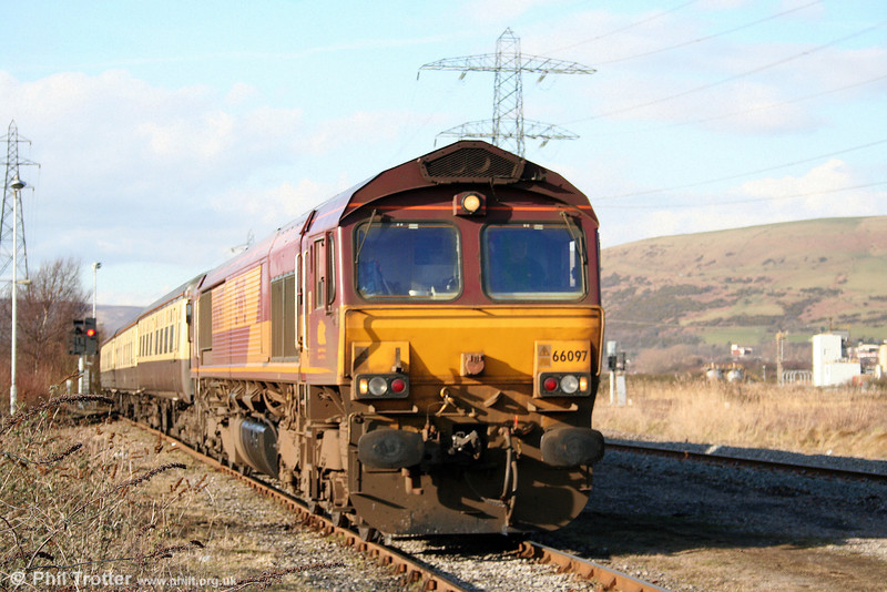 66097 at Margam with the ECS of 'The St. David's Day Cathedrals Express' on 1st March 2010.