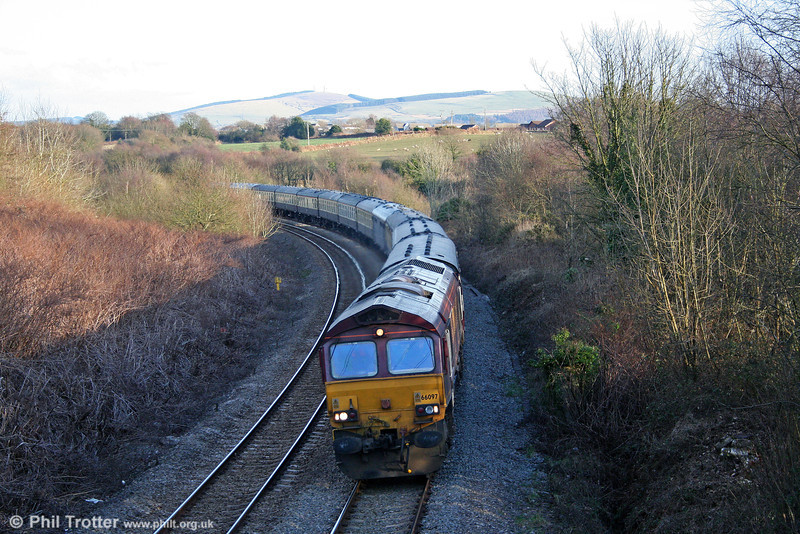 66097 passes Llansamlet with 5Z89, 1600 Margam to Swansea ECS on 1st March 2010.