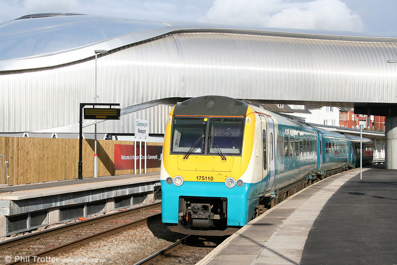 On 30th October 2010, West Wales to Manchester services were truncated at Newport because of engineering work. 175110 leaves Newport forming the 1345 service to Milford Haven