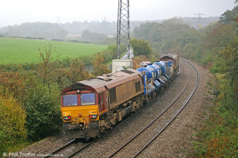 The autumn RHTT trains are once again operating across the network. Running to Swansea Burrows Yard to uplift water, 66204 heads RHTT 3S62, 1205 from Margam Knuckle Yard through Jersey Marine on 22nd October 2010. 66120 was at the rear.