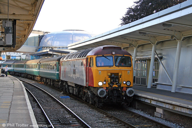 With the new look station taking shape, 57309 'Brains' calls at Newport with 2C89, 1900 Cardiff to Taunton on 25th June 2010.