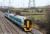 158821 and 150231 return through Duffryn with a Newport to Cardiff Central rugby shuttle on 13th February 2010.