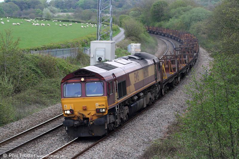 66206 at Llangewydd with 6H22, 0801 Llanwern to Margam on 8th May 2010.