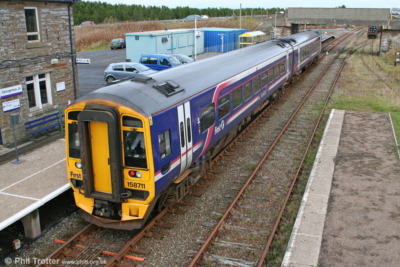 Having called at Thurso, the 1600 Wick to Inverness reverses at Georgemas Junction on 14th October 2010.
