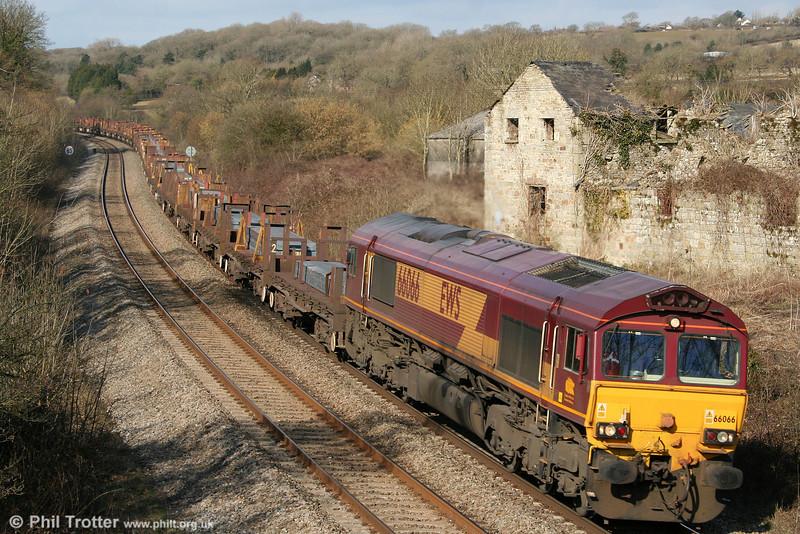 66066 at Llangewydd with 6H25, 1022 Margam to Llanwern slabs on 13th March 2010.