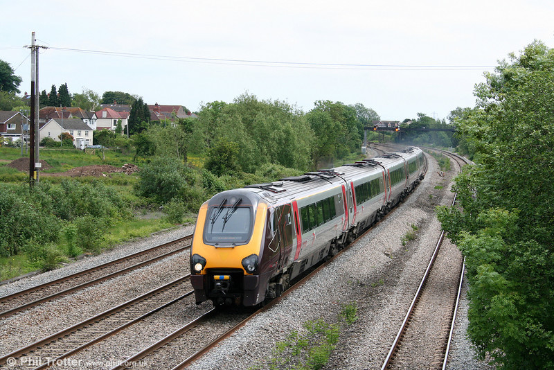 An unidentified XC class 221 passes Magor heading for Newport on 31st May 2010.