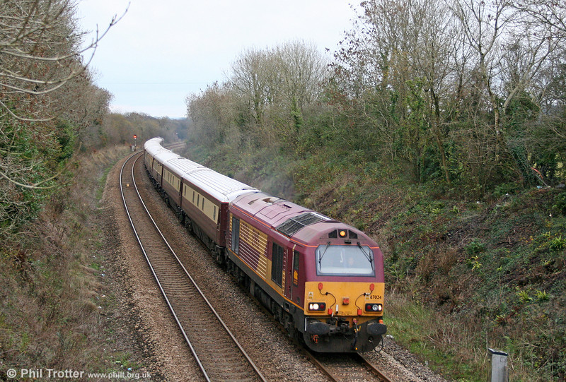 67024 near Clunderwen with 1Z49, 1110 Cardiff Central to Milford Haven Northern Belle 'Spirit of Travel' lunch special on 21st November 2010.