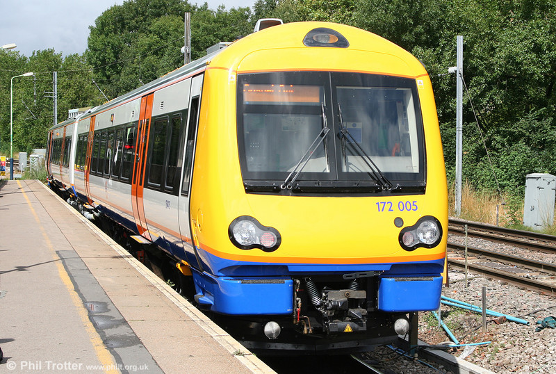 The first of LOROL's eight new class 172s are now entering service on the 'Goblin' line. Brand new 172005 waits in the sunshine at Gospel Oak ready to form the 1140 departure for Barking on 31st July 2010.