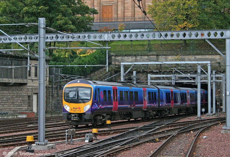Transpennine 185113 arrives at Edinburgh Waverley forming the midday service from Manchester Airport on 18th October 2010.