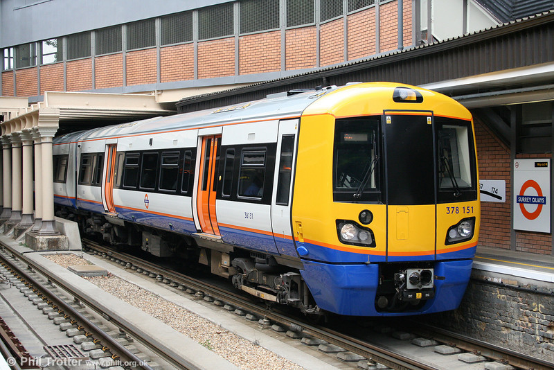 378151 calls at Surrey Quays forming a Dalston Junction to West Croydon service on 31st July 2010. Surrey Quays will eventually become the junction for the 2.5km ELL extension to Clapham Junction, thus creating an orbital railway which is due to open in 2012.