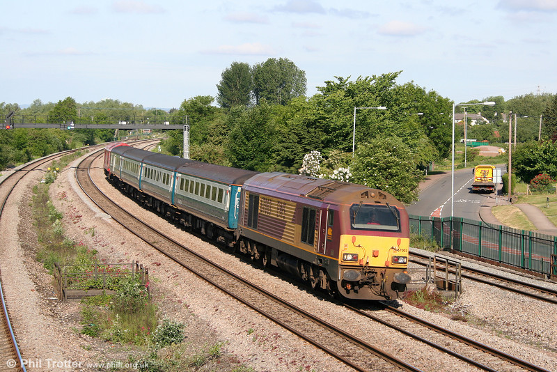67003 is the latest member of the class to appear on the Cardiff to Paignton diagram. The drab-looking loco passes Undy with 2C67, 0800 Cardiff Central to Paignton on 31st May 2010.