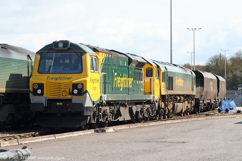 FLHH 70003 stabled with 66553 at Stoke Gifford Yard on 28th March 2010.