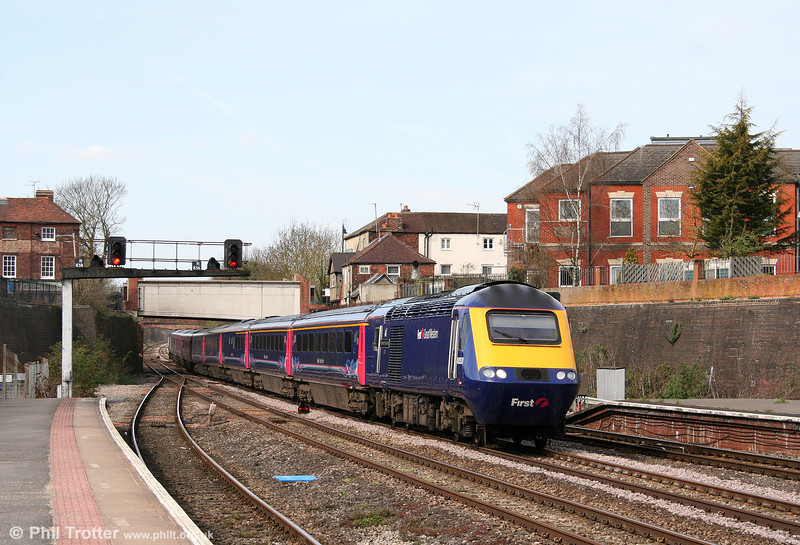 43053, recently named 'University of Worcester' speeds through Newbury at the head of the 0855 Plymouth to London Paddington on 9th April 2010.