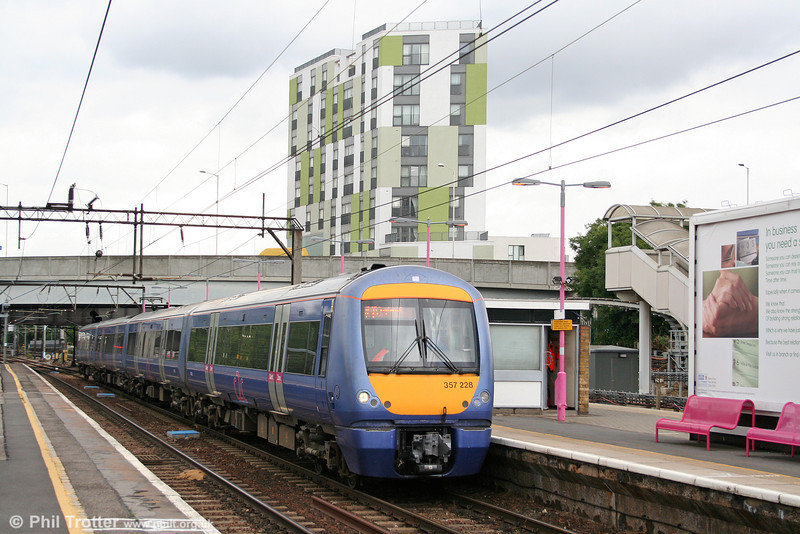 And finally in this batch of class 357s, 357228 calls at Barking forming the 1220 Fenchurch Street to Southend Central on 31st July 2010.