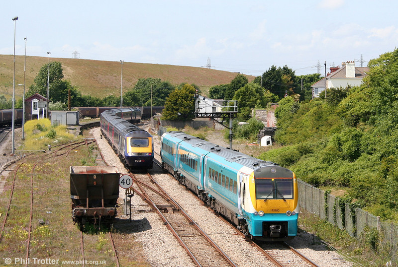 Diverted services pass at Aberthaw on 27th June 2010; 175103 is working the 1130 Milford Haven to Newport, passing FGW's 1130 London Paddington to Carmarthen.
