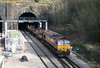 66118 exits Newport 'Old' Tunnel (748 yds, built 1848-50) with 6H24, Llanwern to Margam on 6th February 2010.