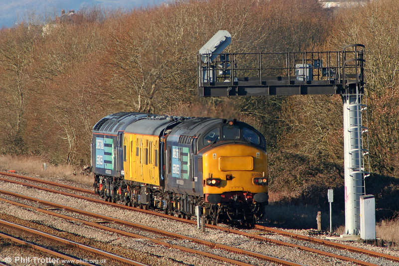 37259 in the Up Goods Loop at Llandeilo Junction with 2Q88, 0918 Robeston to Derby test train on 15th December 2010.