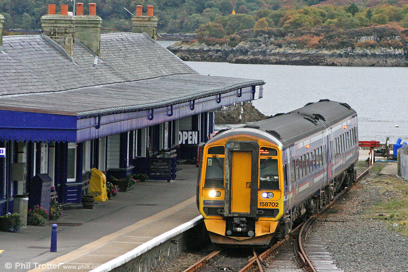 A brace of Scotrail class 158s follows, these being the mainstay of services around Inverness. 158702 'BBC Scotland - 75 Years' waits at Kyle of Lochalsh, ready to depart at 1715 for Inverness and Elgin on 13th October 2010.