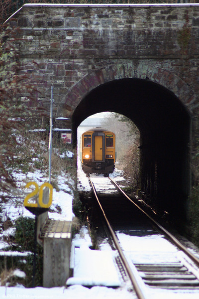 150253 approaches the 88 yard Pontarddulais Tunnel forming the 1315 Swansea to Shrewsbury on 6th January 2010.