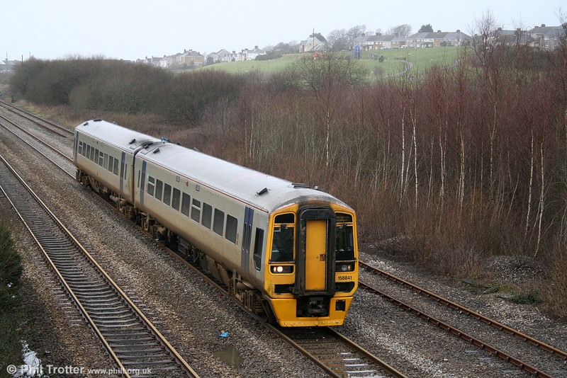 158841 at Trostre with the 1108 Milford Haven to Manchester Piccadilly on 16th January 2010...