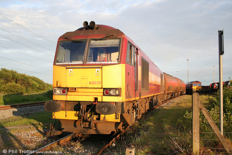 60039 rests in the evening sunshine at Margam with 6B47, 1722 Westerleigh to Robeston on 8th June 2010.