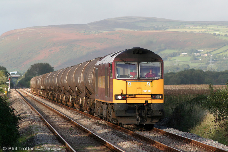 60010 is seen near Llangennech with 6B07, 1800 Margam to Robeston on 8th September 2010.