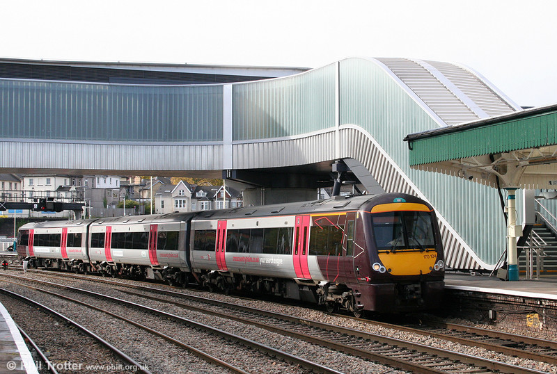 Newport's new footbridge provides a backdrop to 170104 working the 1145 Cardiff Central to Nottingham on 30th October 2010.