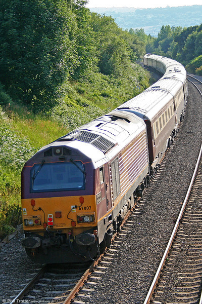 67002 'Special Delivery' at Llansamlet at the rear of 5Z26, 1818 Neath to Crewe (via Swansea, to reverse) Northern Belle ECS on 26th June 2010.