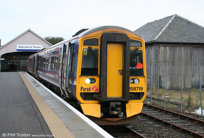 The northernmost station on the UK rail network is, of course, Thurso. First Scotrail's 158719 waits to depart forming the 0706 Inverness to Wick on 14th October 2010.