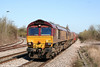 66197 and 66167 at Yate with 6B13, 0505 Robeston to Westerleigh on 8th April 2010.
