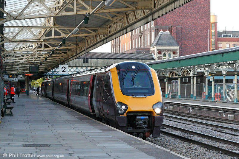 The only timetabled weekday 'Voyager' workings in South Wales are a morning outward and evening return working from Cardiff Central to Manchester Piccadilly. XC 220021 calls at Newport with the 1706 Manchester Piccadilly to Cardiff Central on 25th June 2010.