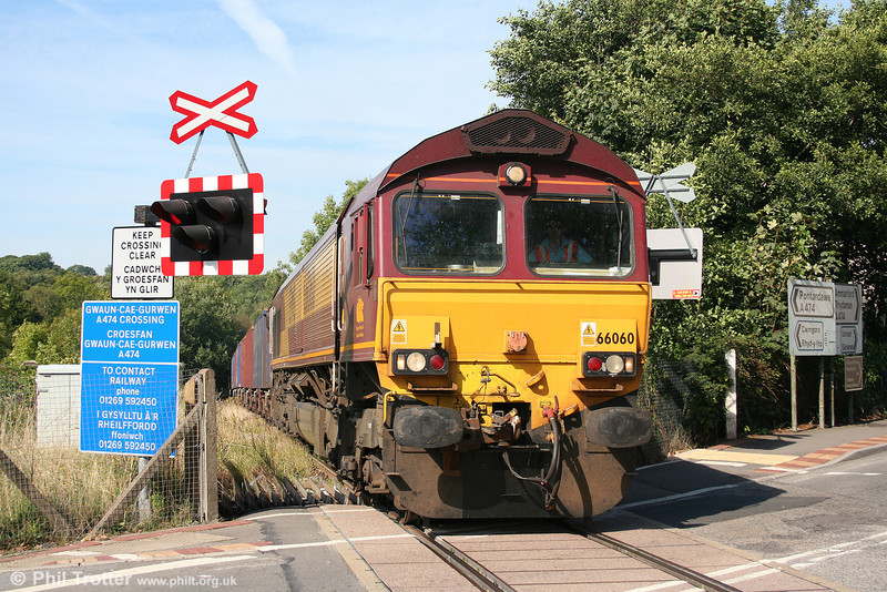 66060 crosses the A474 at Gwaun Cae Gurwen with 6G05, 0920 Swansea Burrows Yard to GCG on 2nd September 2010.