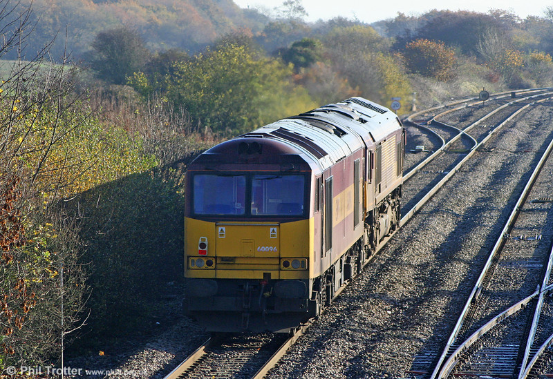 Demic 60096 is dragged up Stormy Bank by 66166, running as 0A53 to Newport ADJ for transfer to Toton on 6th November 2010.
