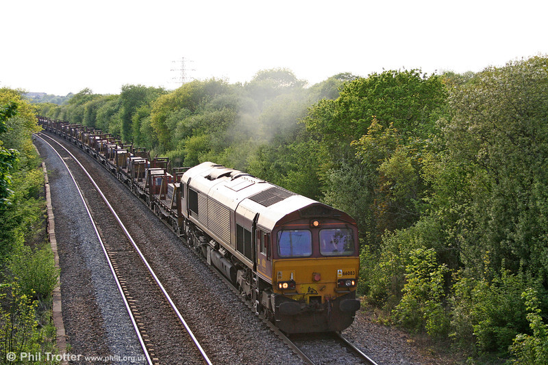 66083 climbs Stormy bank with 6H29, 1817 Margam to Llanwern slabs on 21st May 2010.
