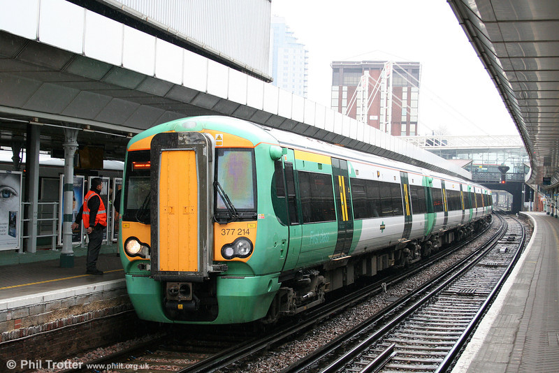 377214 is ready to leave East Croydon forming the 1310 cross-London service to Milton Keynes on 7th April 2010.