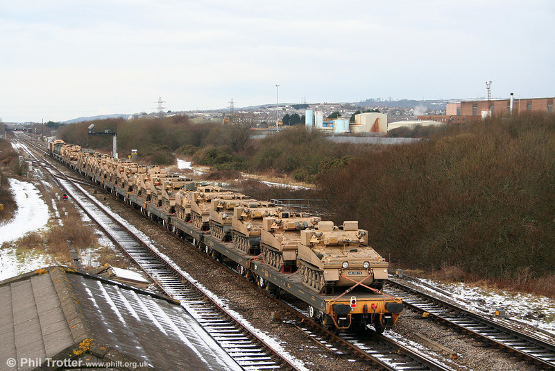 A view of the load behind 66139 as it passes Llandeilo Junction with 6Z52, 1046 Margam to Haverfordwest on 31st January 2010.