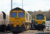 FLHH 66613 and 70003 at Stoke Gifford Yard on 28th March 2010. 66551 is tucked in the centre.