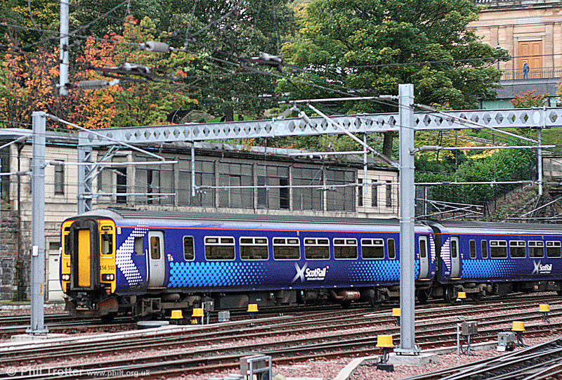 All 28 of the former Strathclyde PTE liveried class 156s now have been rebranded. 156510 illustrates the new unified Scotrail 'Saltire' livery as it arrives at Edinburgh Waverley on 18th October 2010.