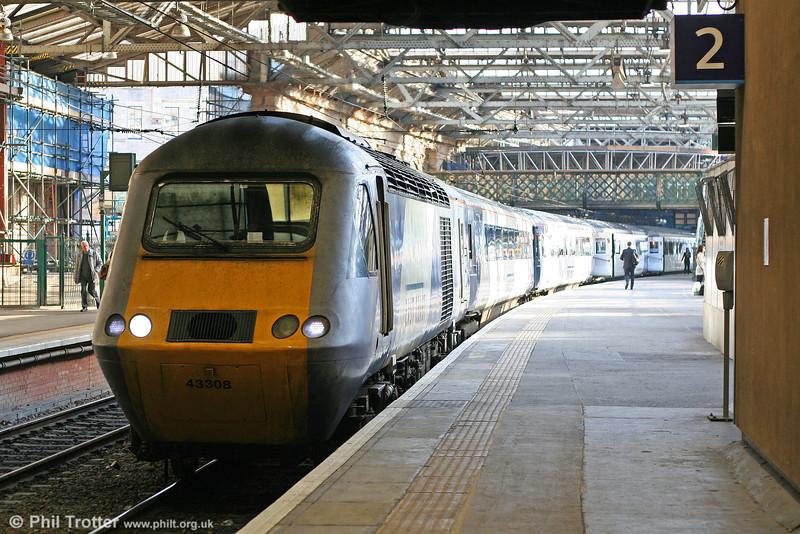 East Coast 43308 heads 1S03, the 0710 Leeds to Aberdeen at Edinburgh Waverley on 20th October 2010.