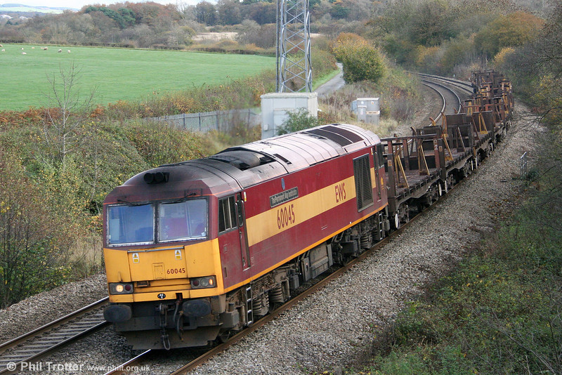 Making a return to South Wales after a year away, 60045 'The Permanent Way Institution' passes Llangewydd with 6V40, 0425 Scunthorpe to Margam on 6th November 2010.
