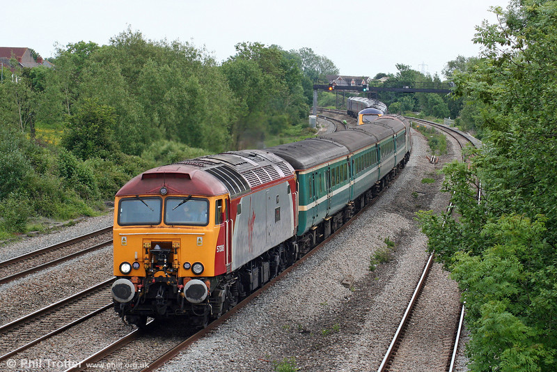 57308 'Tin Tin' heads 2U14, 1102 Taunton to Cardiff Central at Magor on 31st May 2010.