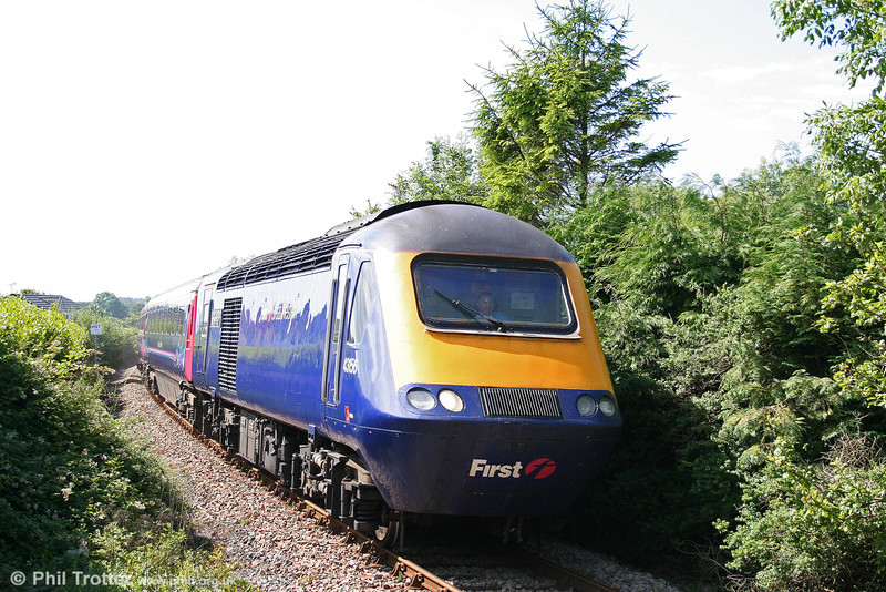 43156 'Dartington International Summer School' at Kilgetty, heading the 1000 Pembroke Dock to London Paddington, 'The Pembroke Coast Express' on 3rd July 2010.