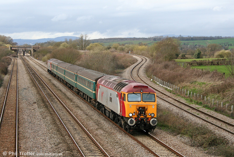 57306 'Jeff Tracy' passes Llandevenny with FGW's 2C79, 1400 Cardiff Central to Taunton on 2nd April 2010.