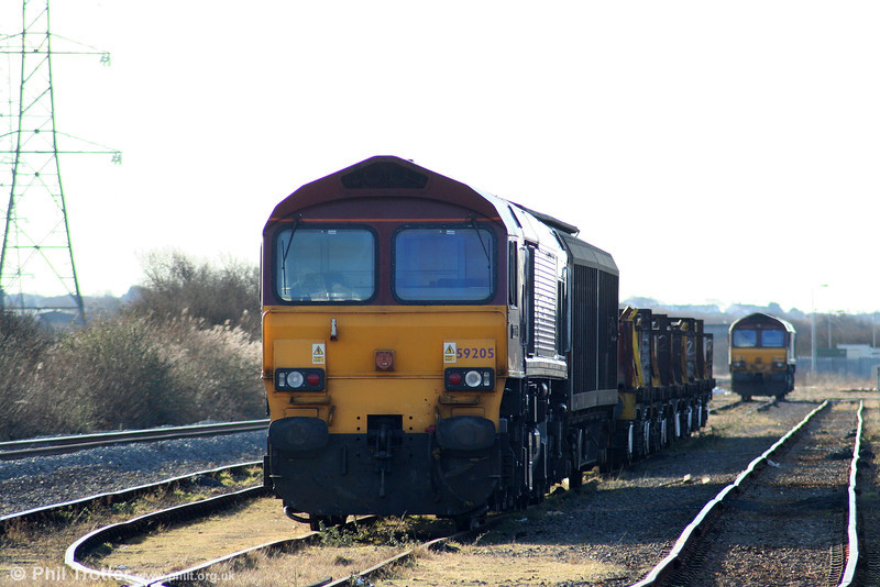 59205 'L Keith McNair' awaits entry into service from Margam on 6th March 2010.
