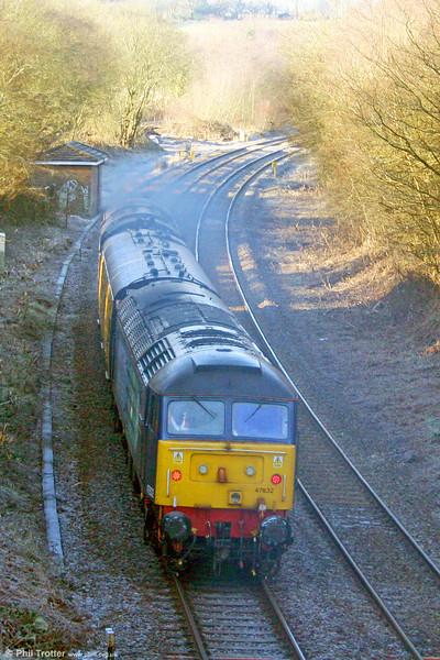 Heading back west, 47832 'Solway Princess' brings up the rear of 2Q88, 0453 Swansea to Whitland via freight branches test train on 14th December 2010.