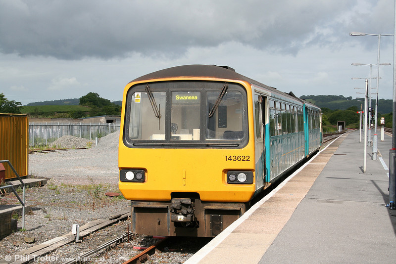 ATW's 143622 in the rarely used Whitland bay platform, having arrived with the 0835 from Pembroke Dock on 3rd July 2010.