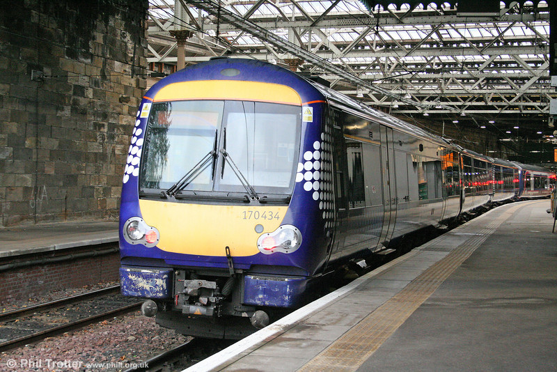 Now carrying the new unified Scotrail 'Saltire' livery, 170434 is seen at Edinburgh Waverley on 18th October 2010.