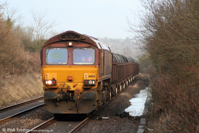 66154 approaches Bynea with 6B12, 1414 Margam to Trostre on 17th January 2010.